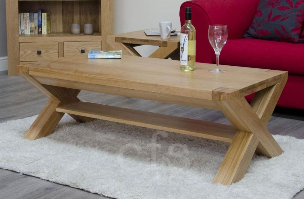Trench Oak 4 x 2 Coffee Table with X Leg