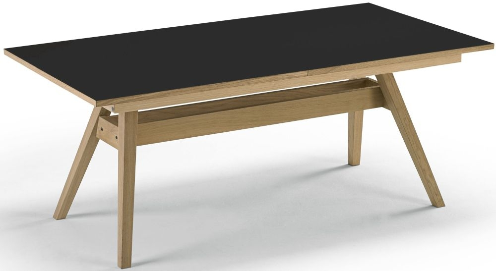 Skovby SM11 Dining Table - Black Nano Laminate with Oak Oil-Finish - 6 to 12 Seater