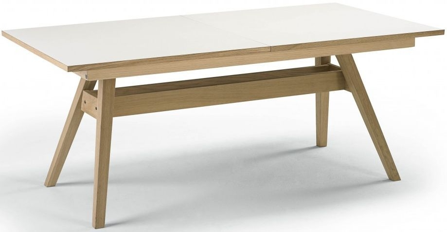 Skovby SM11 Dining Table - White High Pressure Laminate with Oak Oil-Finish - 6 to 12 Seater