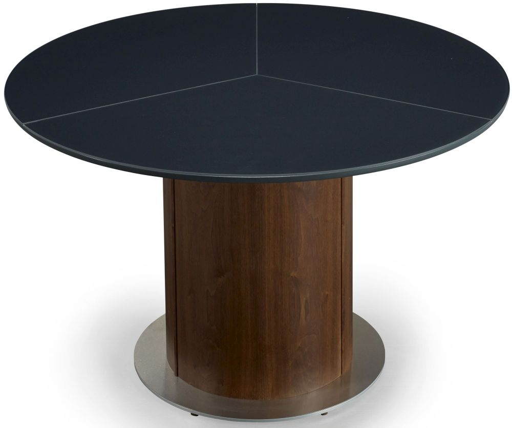 Skovby SM32 Walnut Round Dining Table with Frosted Black Glass Top and Steel Base Plate - 6 to 9 Seater