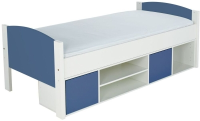 Stompa Storage Cabin Bed with Blue Headboard and Door