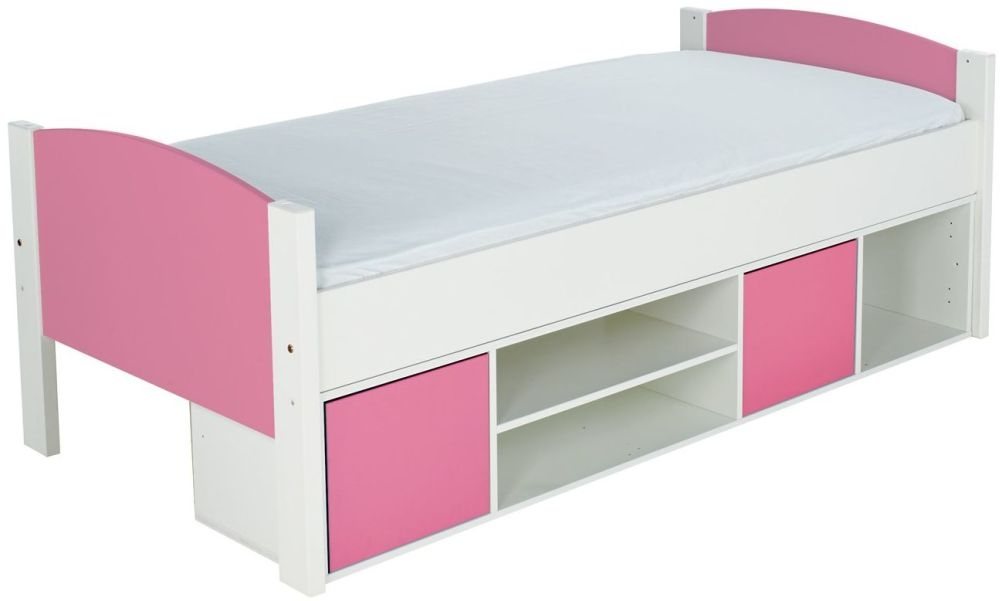 Stompa Storage Cabin Bed with Pink Headboard and Doors