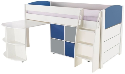Stompa Blue Mid Sleeper with Pull Out Desk and 1 Multi Cube with 1 Drawer Chest