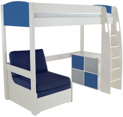 Stompa Blue High Sleeper Bed with Chair and 1 Cube Unit