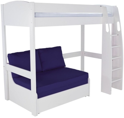 Buy Stompa White High Sleeper Frame with Blue Double Sofa Bed line CFS UK