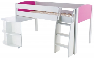 Stompa Mid Sleeper Pink with Pull Out Desk