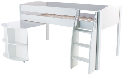 Stompa Mid Sleeper White with Pull Out Desk