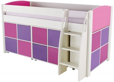 Stompa Pink Mid Sleeper with 3 Multi Cubes