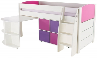 Stompa Pink Mid Sleeper with Pull Out Desk and 1 Multi Cube with 1 Drawer Chest