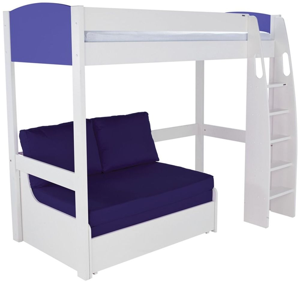 Stompa Blue High Sleeper Frame with Blue Double Sofa Bed