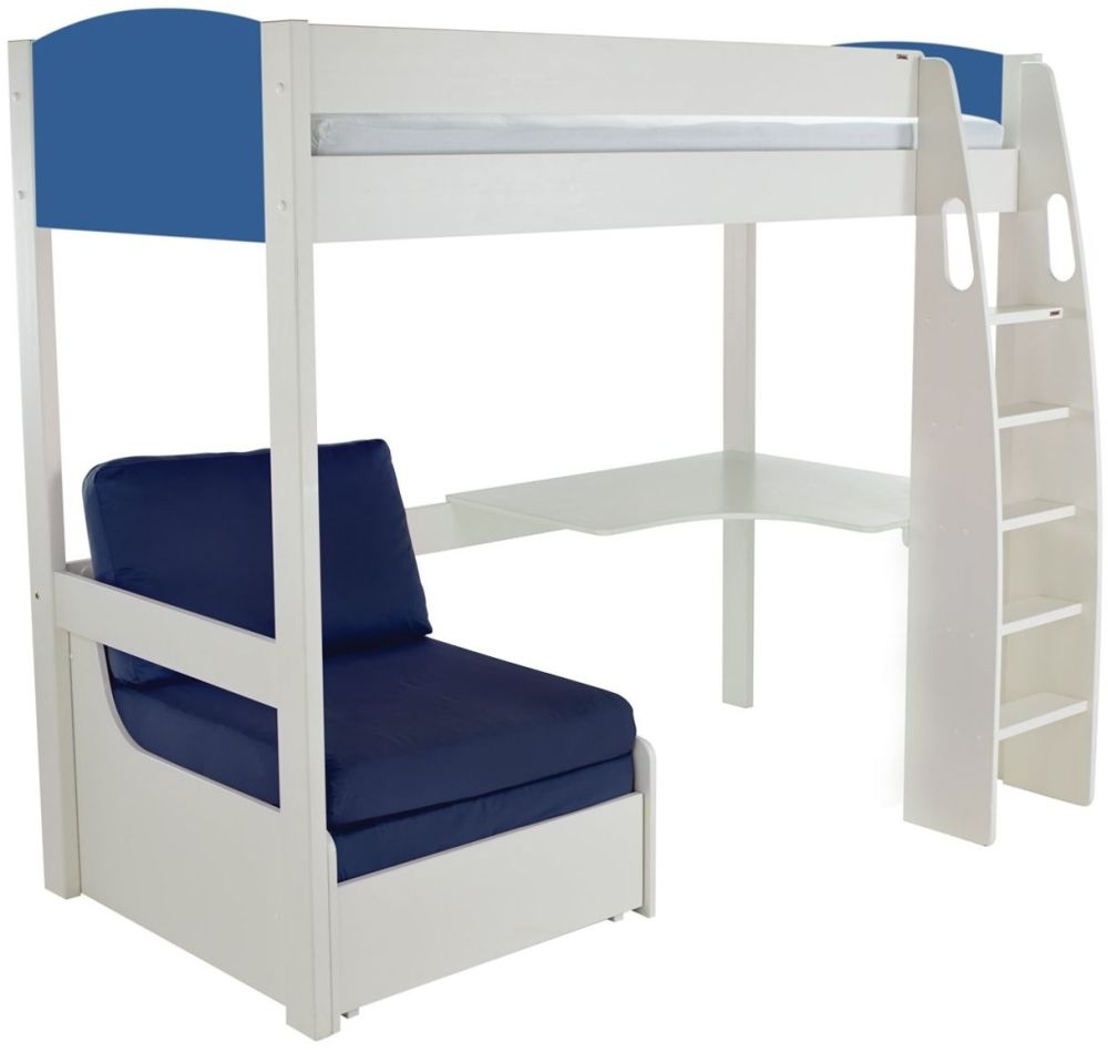 Stompa Blue High Sleeper Frame Including Desk and Blue Chair Bed