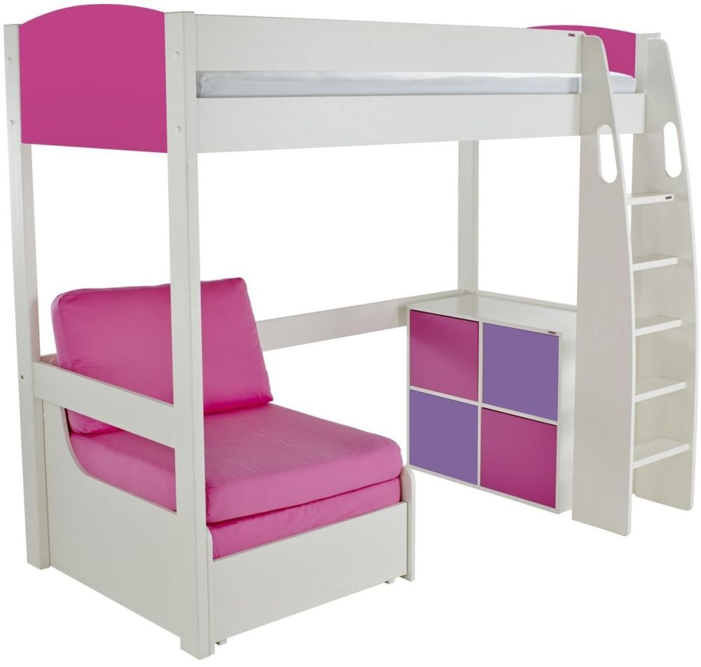 Stompa Pink High Sleeper Bed with Chair and 1 Cube Unit