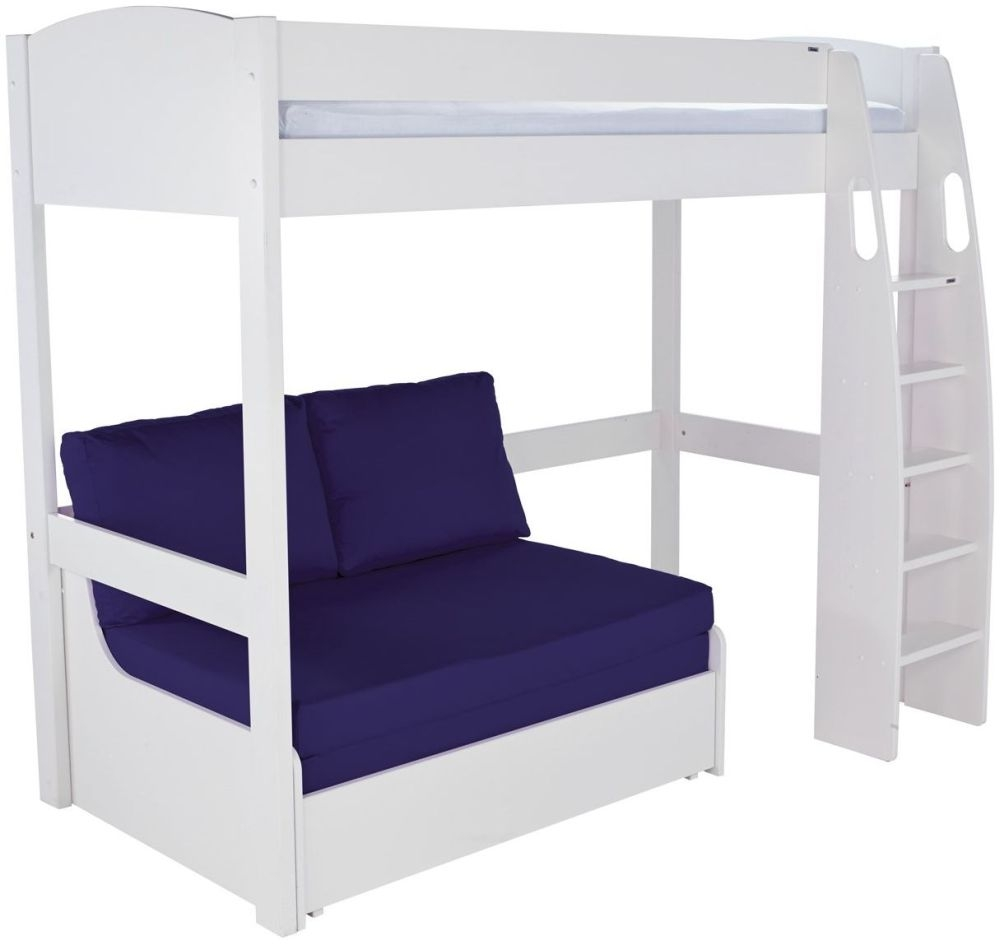 Stompa White High Sleeper Frame With Blue Double Sofa Bed