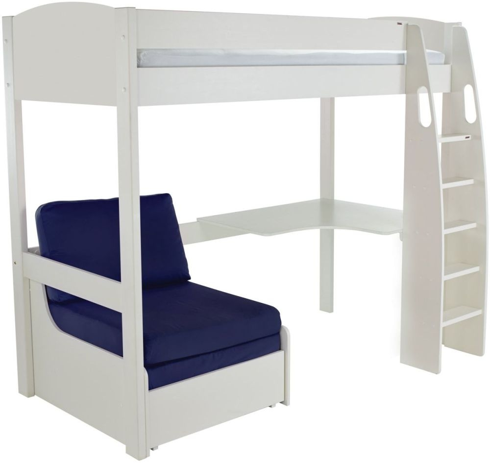 Stompa High Sleeper Bed with Desk and Chair - White and Blue
