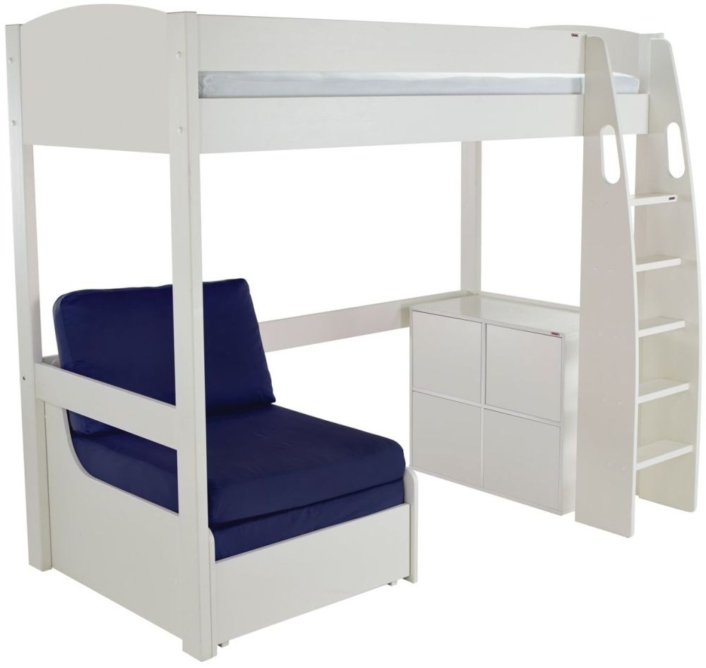 Stompa White High Sleeper Including Blue Chair Bed with 1 Cube Unit and 4 White Doors