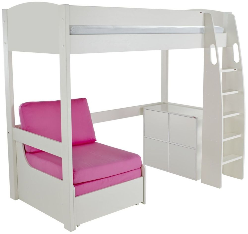 Stompa High Sleeper Bed with Chair and 1 Cube Unit - White and Pink