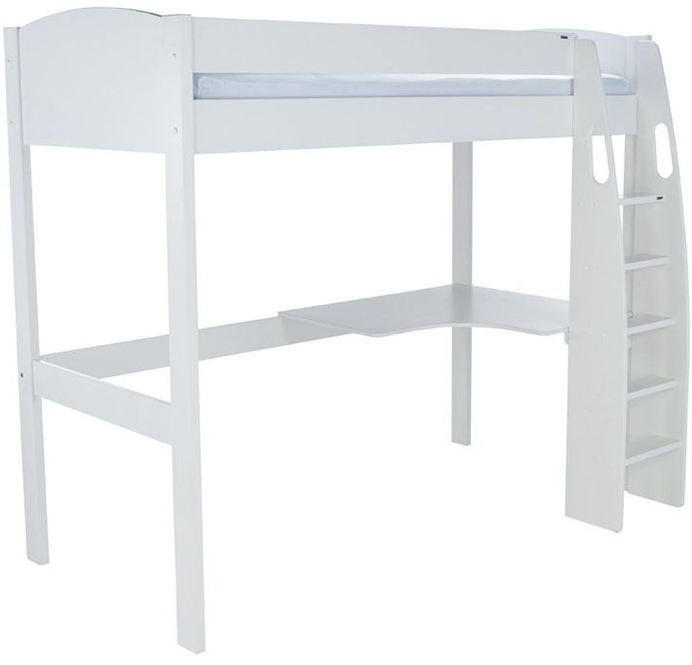Stompa White High Sleeper with Desk