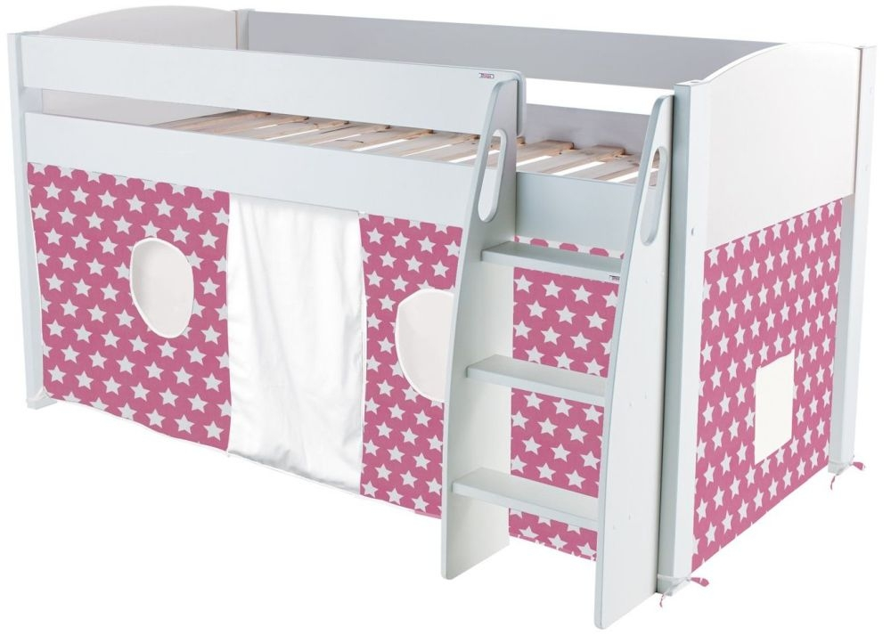 Stompa Mid Sleeper Bed - White and Pink Tent Stars