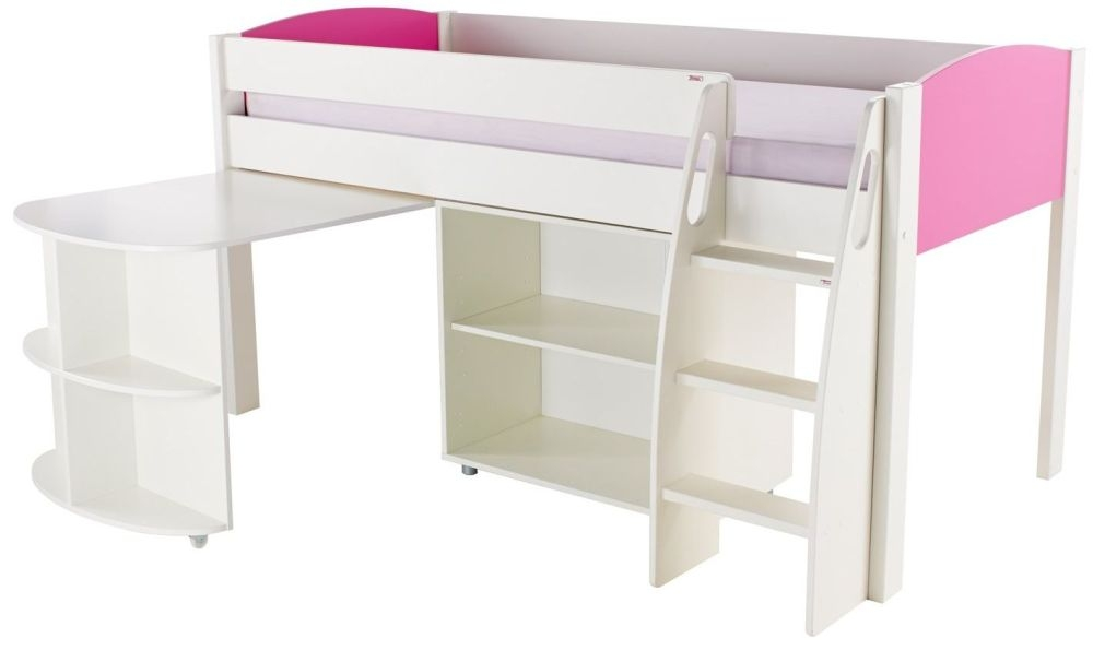 Stompa Pink Mid Sleeper with Pull Out Desk and 1 Bookcase without Door