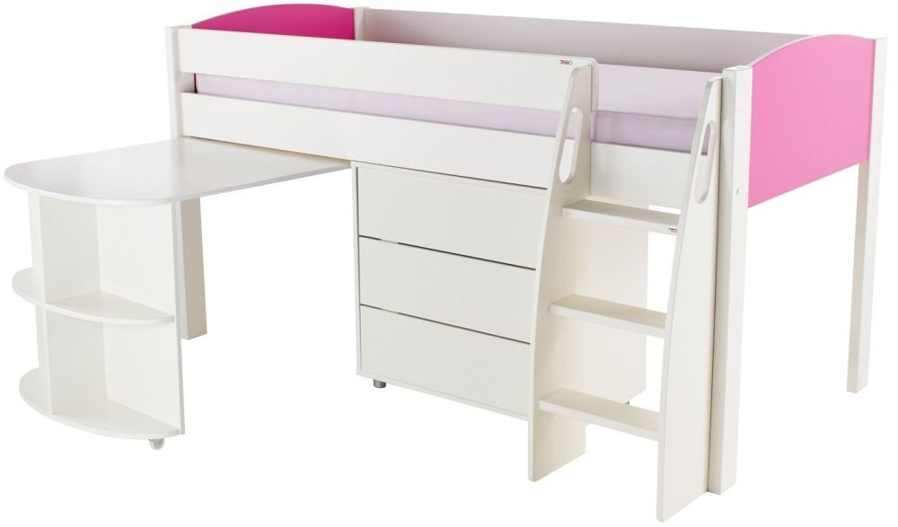 Stompa Pink Mid Sleeper with Pull Out Desk and 1 Drawer Chest