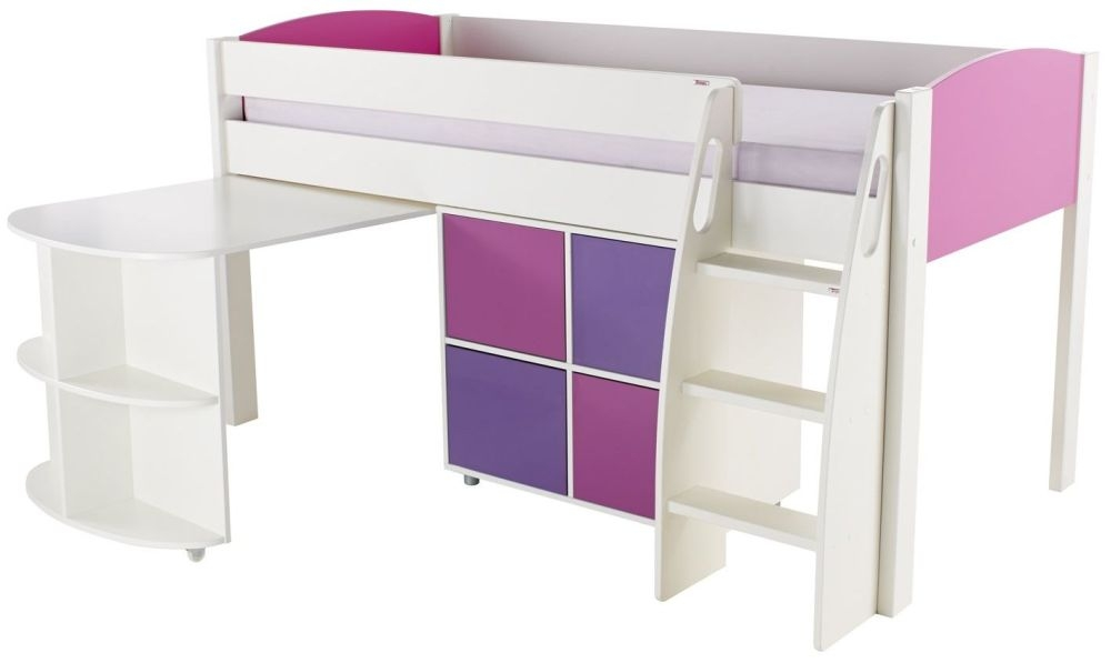 Stompa Pink Mid Sleeper Including Pull Out Desk with 1 Multi Cube with 2 Pink and 2 Purple Doors