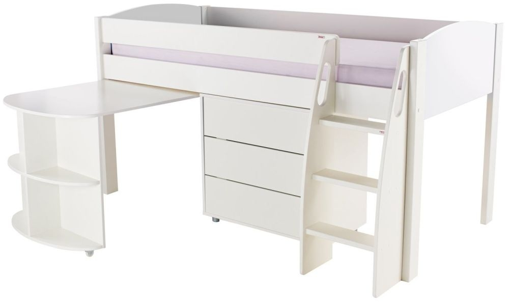 Stompa White Mid Sleeper with Pull Out Desk and 1 Drawer Chest