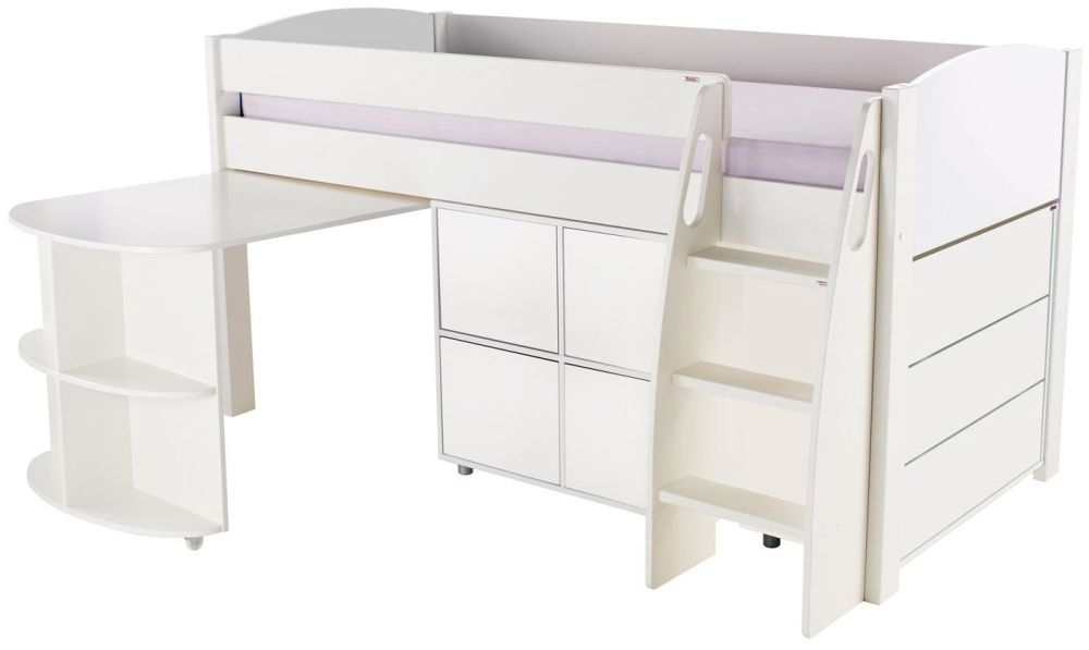 Stompa White Mid Sleeper with Pull Out Desk and 1 Multi Cube with 1 Drawer Chest