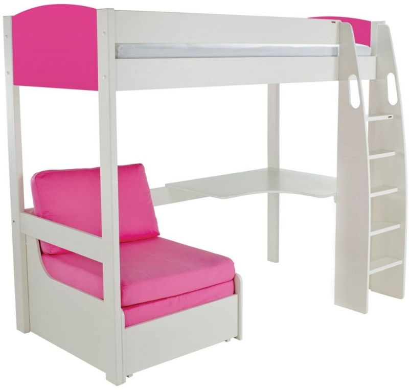 Stompa Pink High Sleeper Bed with Desk and Chair