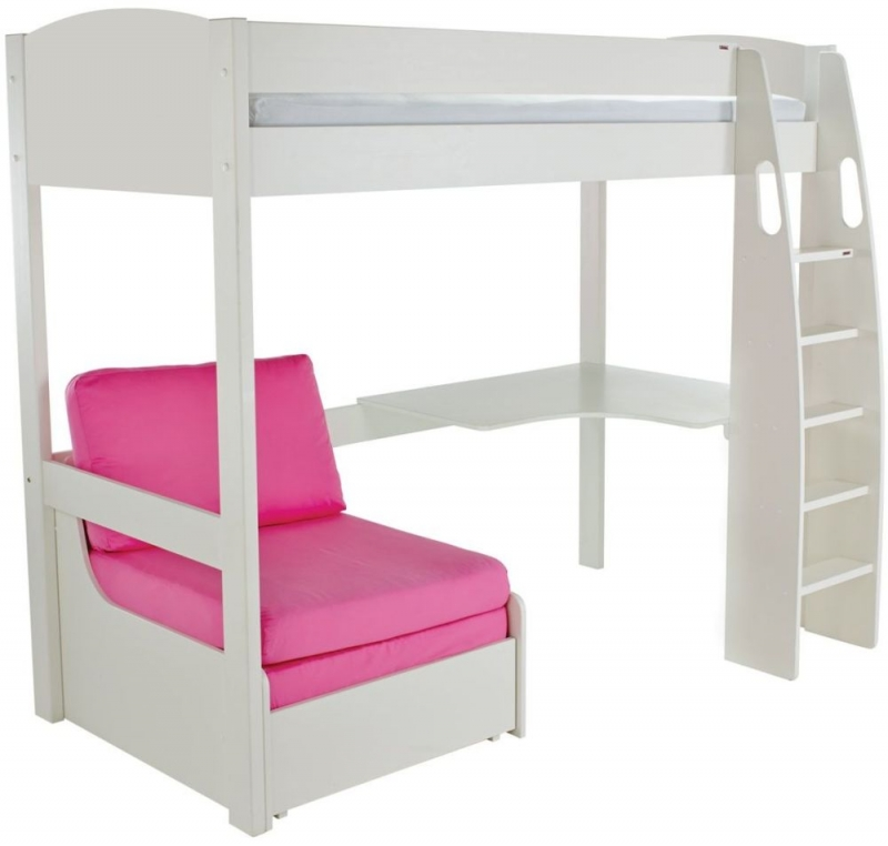Stompa High Sleeper Bed with Desk and Chair - White and Pink