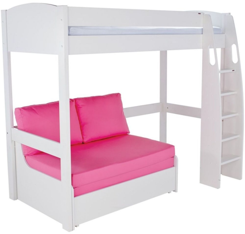 Stompa High Sleeper with Double Sofa Bed - White and Pink