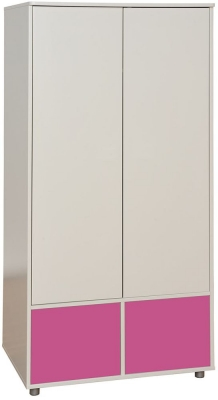 Stompa Tall Wardrobe with Doors - White and Pink