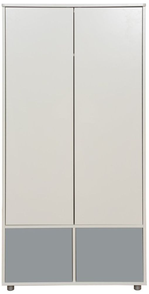 Stompa White Tall Wardrobe with Grey Doors