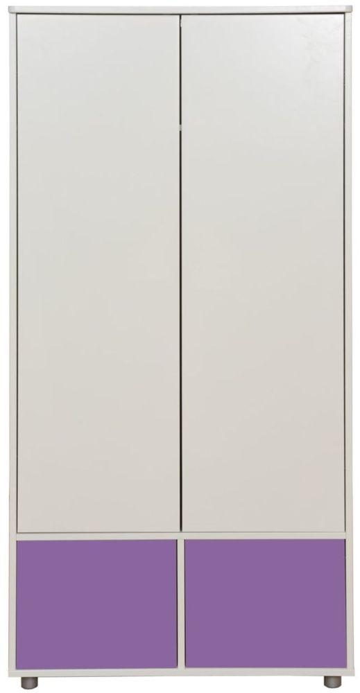 Stompa White Tall Wardrobe with Purple Doors