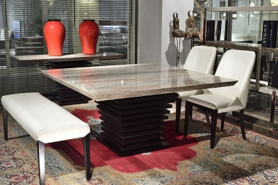 Stone International Ark Beveled Edge Dining Table - Marble and Wenge Wood