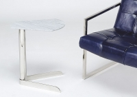 Stone International Duck Marble Accent Table with Polished Steel Base
