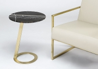 Stone International Loop Marble Round Accent Table with Satin Brass Base