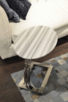 Stone International Swan Marble Oval Accent Table with Polished Steel Base with Casters