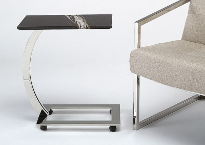 Stone International Swan Accent Table - Marble and Polished Steel