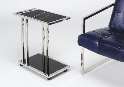 Stone International Tray Marble Accent Table - Black Glass and Polished Steel