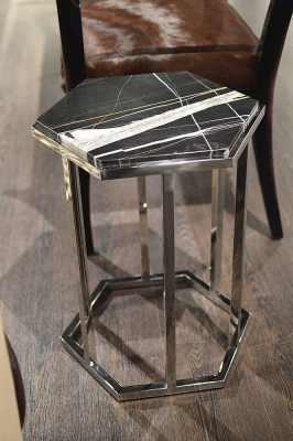 Stone International Hexagonal Accent Table - Marble and Polished Steel