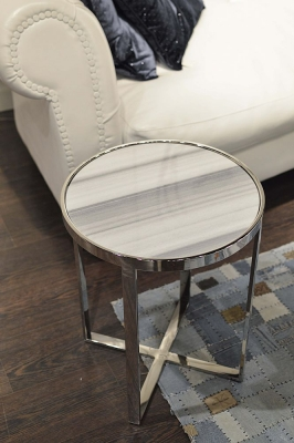 Stone International Marble Round Accent Table with Polished Steel Base