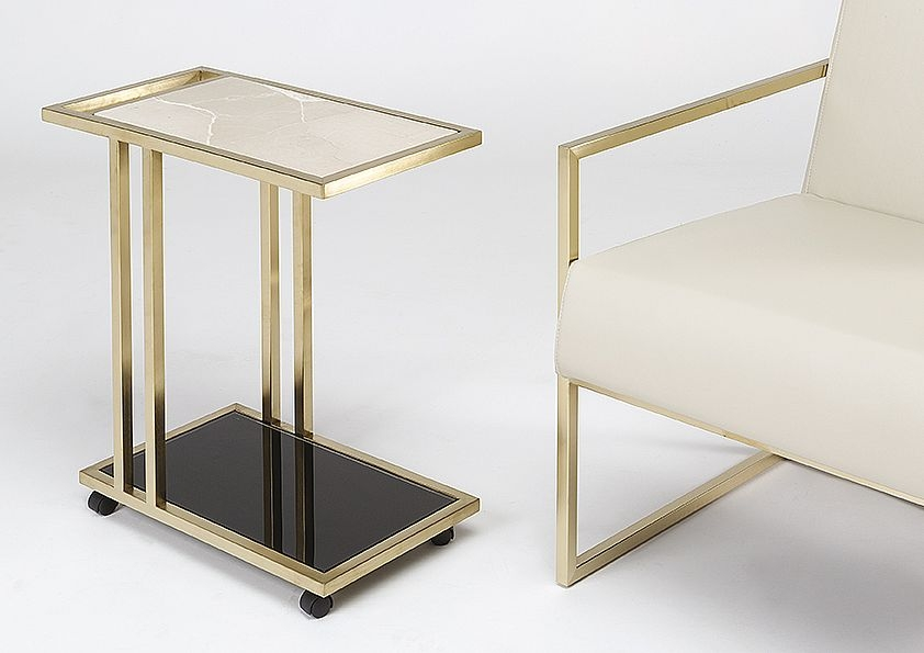 Stone International Tray Marble Accent Table - Black Glass and Satin Brass