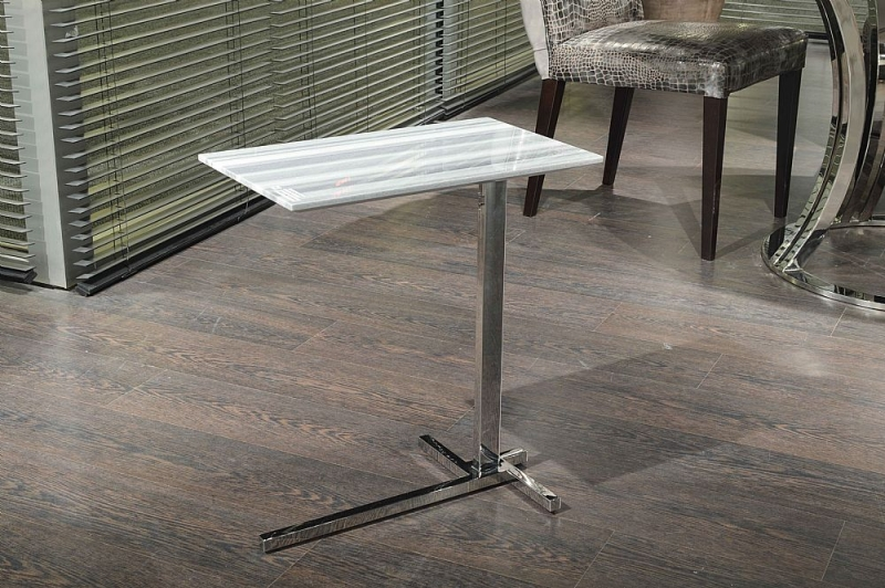 Stone International Flamingo Marble Rectangular Accent Table with Polished Steel Base