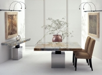 Stone International Athena Marble Square Dining Table with Polished Steel Base
