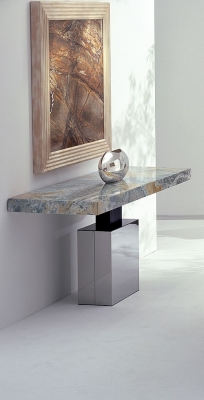 Stone International Athena Console Table - Marble and Stainless Steel