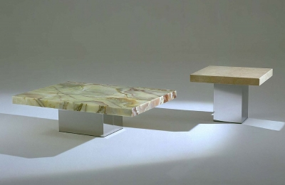 Stone International Athena Occasional Table - Marble and Stainless Steel