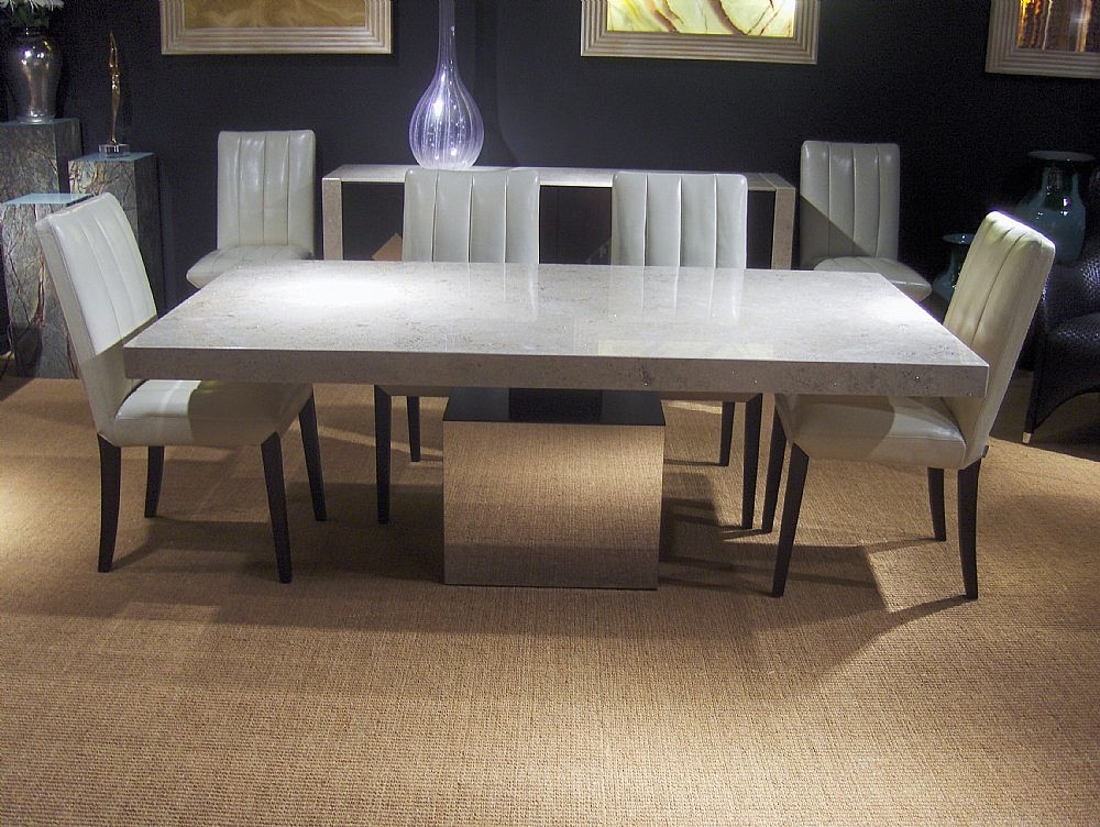 Stone International Athena Dining Table - Marble and Polished Steel