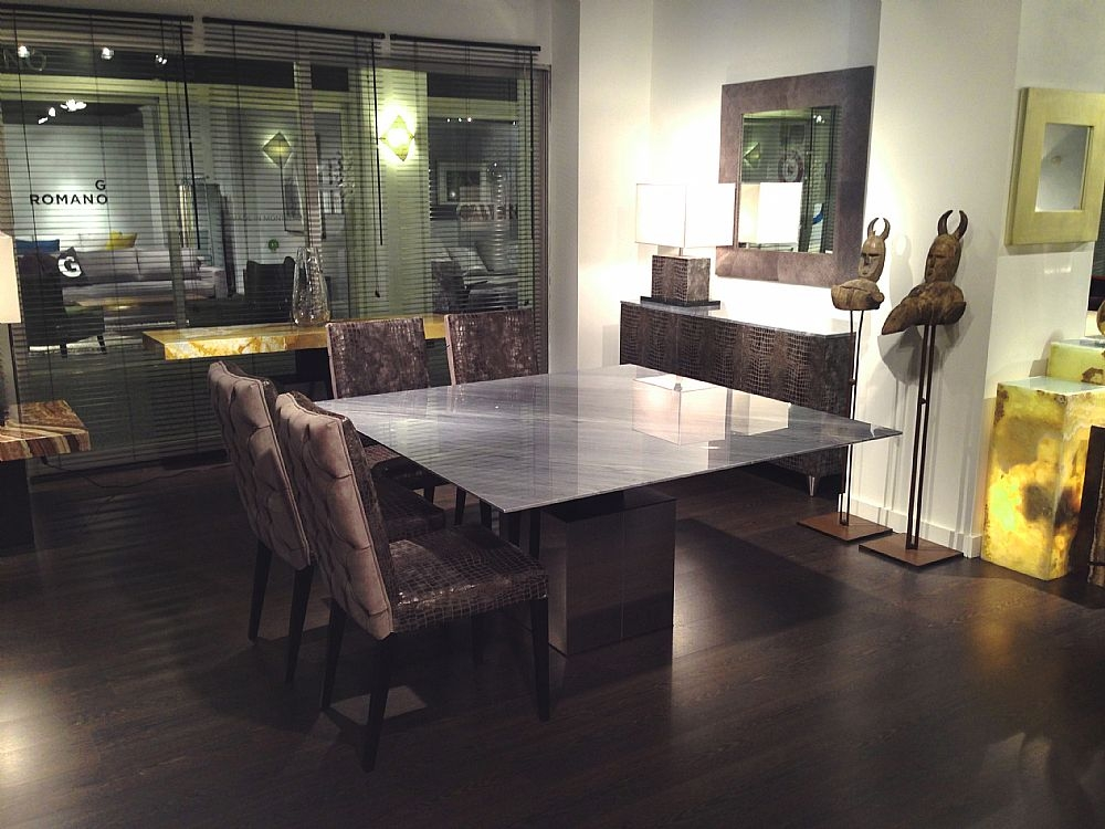 Stone International Athena Thin Square Dining Table - Marble and Polished Steel