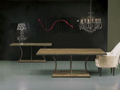 Stone International Aurora Dining Table - Marble and Rusty Iron