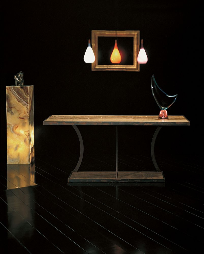 Stone International Aurora Rusty Iron Marble Console Table